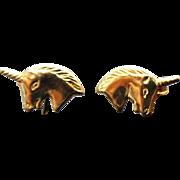 14K Yellow Gold Small Unicorn Pierced Post Earrings