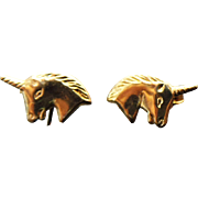 14K Yellow Gold Small Unicorn Pierced Post Earrings