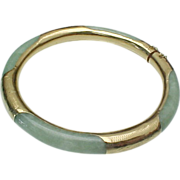 Vintage JADE and 14k Gold Bangle Bracelet Floral Engraved Accent With Safety Chain