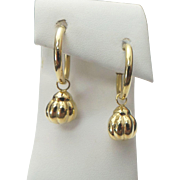 14K Yellow Gold Hoop Ball Earrings