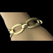 14k Yellow Gold Brushed & High Polished Link Bracelet