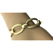 14k Yellow Gold Brushed & High Polished Link Bracelet