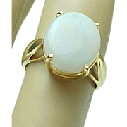 Vintage 14 K Yellow Gold 12 Carat Oval Opal Ring