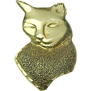 14K Yellow Gold, Large Cats Head Pendant