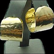 14 K Yellow Gold Wide Hand Hamered Pierced Hoop Earrings