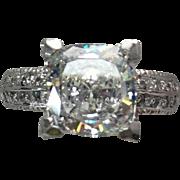 14k White Gold 4.5 Carat Princess Cut Simulated Diamond Engagement Ring