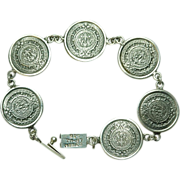 Sterling Silver Mexican Mayan Calender Bracelet