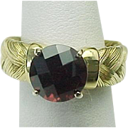 18K Yellow Gold Braided Wide 2.50 Carat Faceted Garnet Ring