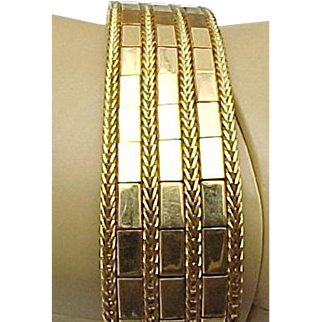 18K Yellow Gold Mirrored Flexible Wide Bracelet
