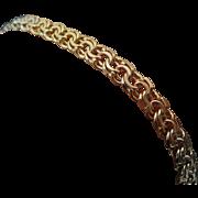 18K Tri Color Gold Double Link Bracelet