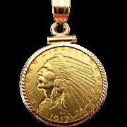 1912 Indian head 2 1/2 dollar gold coin 14k yellow gold bezel charm pendant