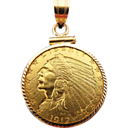 "1912 $2.50 Indian Head Gold Quarter Eagle Coin Pendant & 14k 20"" Rope Chain"