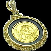 1990 1/20 OZ Gold 5 Yuan PANDA Coin Pendant