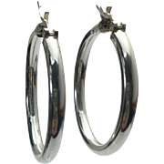 "Sterling Silver 1- 1/8"""" Pierced Hoop Earrings"