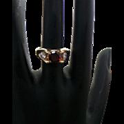 14K Yellow Gold 1.00 Carat Round Red Tourmaline & Diamond Ring