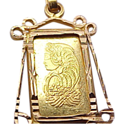 Lady Fortuna PAMP Suisse 1 gram Gold Bar Pendant