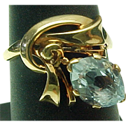 Retro 14K Gold 1.00 Aqua Marine Marquis Ring
