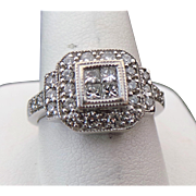 14K White Gold 1.00 Carat Princess & Round Cut Diamond Ring