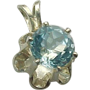 Vintage Sterling Silver, 1.00 Carat Blue Topaz Buttercup Pendant