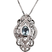 10K Filigree White Gold 1.00 Karat Aqua Marine & Diamond Pendant