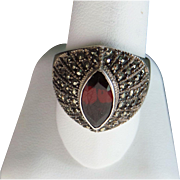 Sterling Silver 1.25 Marquis Pyrope Garnet & Marcasite Ring