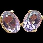 14K Yellow Gold 1.50 Carat Oval Amethyst Post Earrings