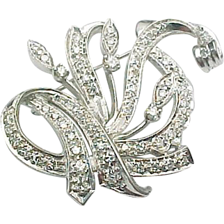 14K White Gold 1.50 Diamond Custom Brooch ~ GIA Cert