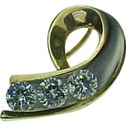 Vintage 14K Two Tone Gold 1.5 Carat Simulated Diamond Slide Pendant