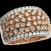 Gorgeous 18 Karat Rose/White Gold 1.58 CTW Pink/White Diamond 13.65mm Band Ring