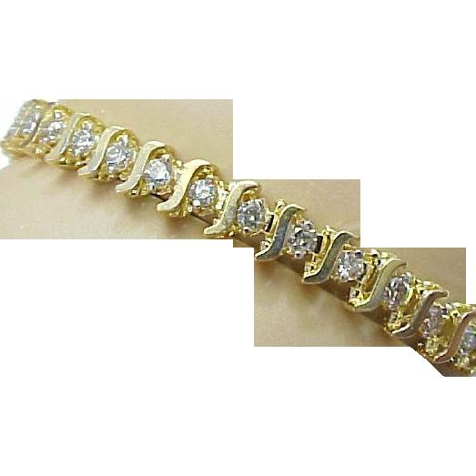 Vintage 14k Yellow Gold Diamond S Style Tennis Bracelet