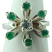 Retro Flower Emerald And Diamond Ring