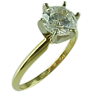 Vintage 18 K Yellow Gold .85 Carat Faux Diamond Engagement Ring