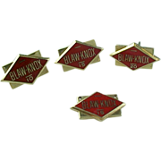Vintage Red Enameled Set Of 4 Blaw-Knox 10 K Gold Service Award Pins