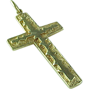 Vintage 14 K Yellow Gold Hand Crafted Large Crucifix