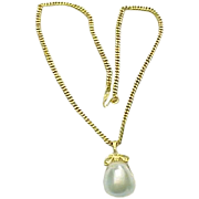 "Victorian 22k Gold Large Baroque Pearl Pendant & 16"" Chain"
