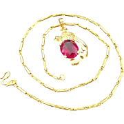 "Gorgeous Handcrafted 24 Karat Yellow Gold 7.25 Carat Ruby Phoenix Pendant & 24 Karat Yellow Gold 16"" Diamond Cut Baht Chain Necklace .9999 Pure Gold"