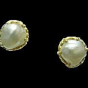 22k Yellow Gold Cultured Baroque 9 mm Pearl Stud Screw Back Earrings