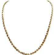 "Vintage Unisex 14k Gold 3.15mm Diamond Cut Rope Chain~ 24"" Length"