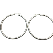 "Sterling Silver 2 1/4"" Pierced Hoop Earrings"