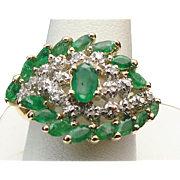 10K Yellow Gold 2.00 Karat Emerald And Diamond Ring