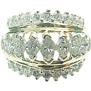 14K Yellow Gold 2.00 Carat Marquise Cathedral Diamond Ring