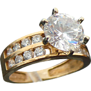 14K Yellow Gold 2.00 Carat + Simulated Diamond Solitaire Engagement Ring