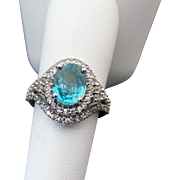 10K White Gold 2.50 Carat Oval Blue & WhiteTopaz Ring