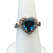 10K Yellow Gold 2.50 Carat Heart Shape London Blue Topaz & Diamond Ring