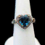 10K Yellow Gold 2.50 Carat Heart Shape London Blue Topaz & Diamond Ring
