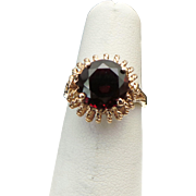 Vintage Handcrafted 10 Karat Yellow Gold Fligree 2.50 Carat Round Red Ruby Ring