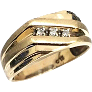 Custom 10 Karat Yellow Gold High Polish & Brush Finished 3 Stone Diamond Ring