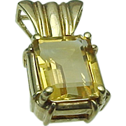 Vintage 10k Gold 3.00 Carat Citrine Emerald Cut Pendant