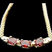 14K Yellow Gold 3.00 Carat Garnet & Diamond Necklace