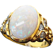 Custom Hand Made, 14K Yellow Gold 3.00 Carat Opal & .30 Carat Diamond Ring